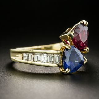 Estate Ruby, Sapphire and Diamond Bypass Ring