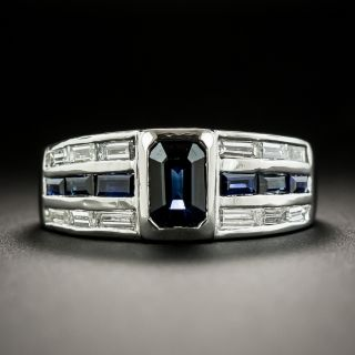 Estate Sapphire and Diamond Band Style Ring - 2