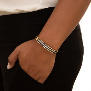 Estate Sapphire and Diamond Bangle Bracelet