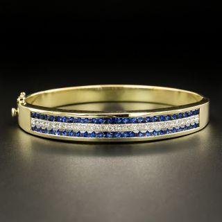 Estate Sapphire and Diamond Bangle Bracelet - 2