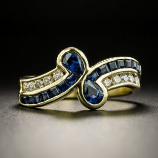 Estate Sapphire and Diamond Bypass Ring - 2