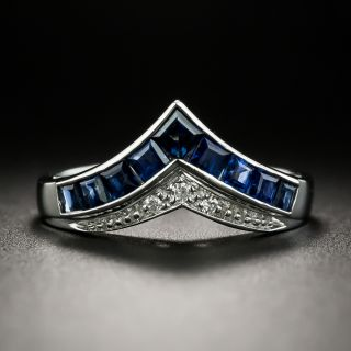 Estate Sapphire and Diamond Chevron Band Ring - 2