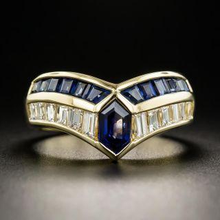 Estate Sapphire and Diamond Chevron Ring - 1