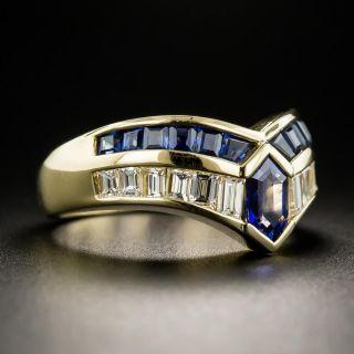 Estate Sapphire and Diamond Chevron Ring