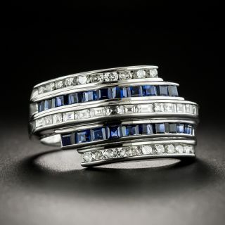 Estate Sapphire and Diamond Five-Row Band Ring - 1