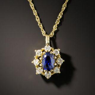 Estate Sapphire and Diamond Halo Pendant - 2