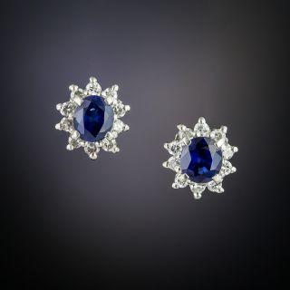 Estate Sapphire and Diamond Stud Earrings - 2