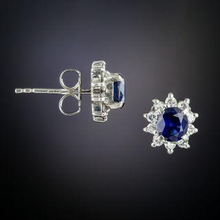 Estate Sapphire and Diamond Stud Earrings