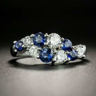 Estate Sapphire and Diamond Wave Ring - 2
