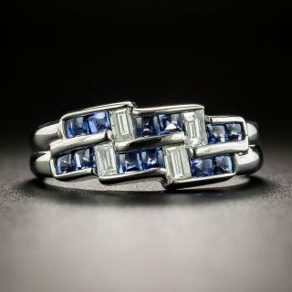 Estate Sapphire and Diamond Zig-Zag Ring - 2