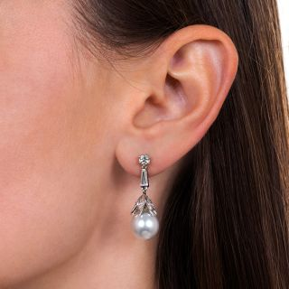 Estate South Sea Pearl and Diamond Drop Earrings