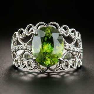Estate Sphene, Diamond Ring 18K White Gold - 1