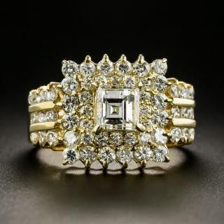 Estate Square Cut Diamond Cluster Ring