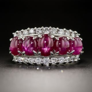 Estate Star Ruby and Diamond Band Ring - 1