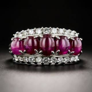 Estate Star Ruby and Diamond Band Ring