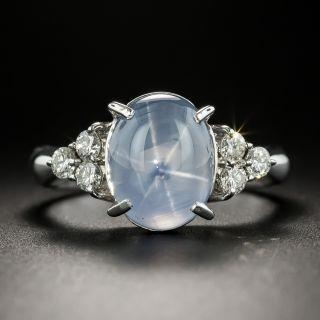 Estate Star Sapphire Cabochon and Diamond Ring - 2