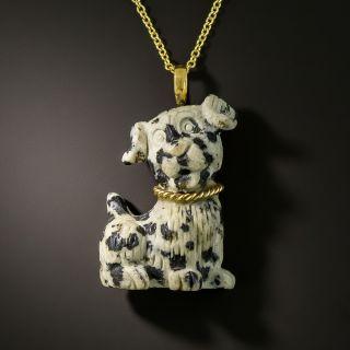 Estate Stone Dalmation Puppy Necklace - 1