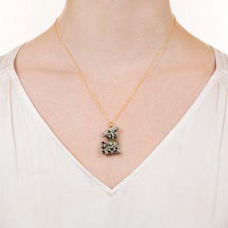 Estate Stone Dalmation Puppy Necklace