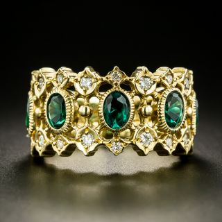Estate Synthetic Emerald and Diamond Band Ring - 1