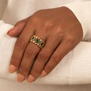 Estate Synthetic Emerald and Diamond Band Ring
