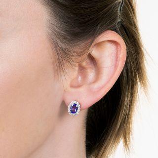 Estate Tanzanite and Diamond Halo Earrings