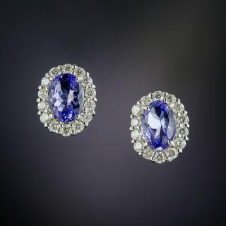 Estate Tanzanite and Diamond Halo Earrings - 3