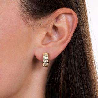 Estate Three-Row Diamond Hoop Earrings