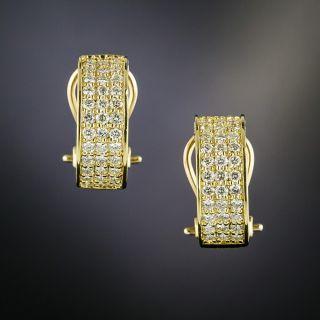 Estate Three-Row Diamond Hoop Earrings - 2