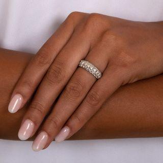 Estate Three-Row Pavé Diamond Band Ring