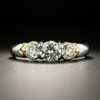 Estate Three-Stone Diamond Platinum/18K Ring - 2