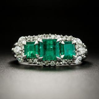 Estate Three-Stone Emerald and Diamond Ring - 3