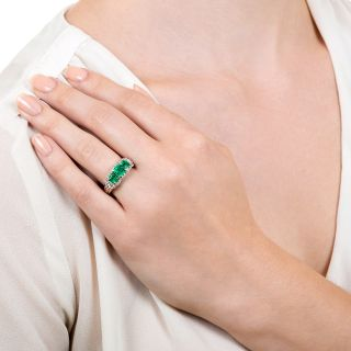 Estate Three-Stone Emerald and Diamond Ring