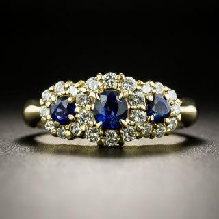 Estate Three-Stone Sapphire and Diamond Halo Ring - 2