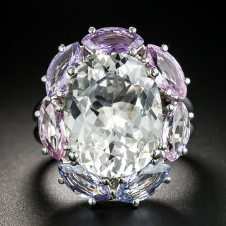 Estate Topaz and Multi-Colored Sapphire Cocktail Ring - 2