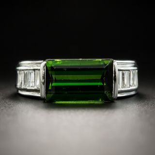 Estate Tourmaline and Baguette Diamond Ring  - 1