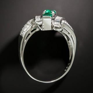 Estate Triple Row Emerald and Diamond Ring