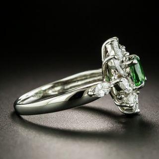 Estate Tsavorite Garnet and Diamond Spray Ring