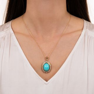 Estate Turquoise and Diamond Halo Pendant and Earrings Set