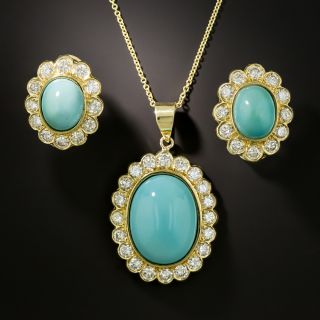 Estate Turquoise and Diamond Halo Pendant and Earrings Set - 1