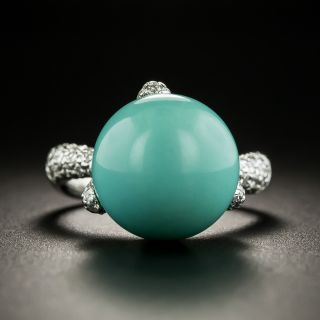 Estate Turquoise Orb and Pave Diamond Ring - 1