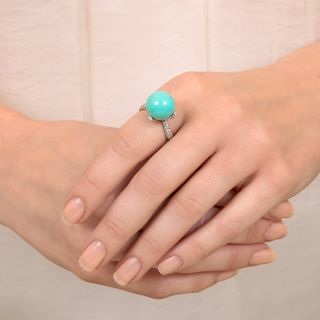 Estate Turquoise Orb and Pave Diamond Ring