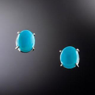 Estate Turquoise Stud Earrings - 1