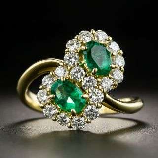Estate Twin Emerald and Diamond Cluster Ring - 1