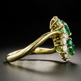 Estate Twin Emerald and Diamond Cluster Ring