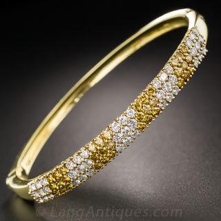 Estate White Diamond and Fancy Golden Diamond Bangle Bracelet - 3