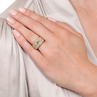 Estate Yellow and White Diamond Band Ring