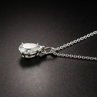 Estate 1.00 Carat Pear Shape Diamond Drop - GIA E SI2