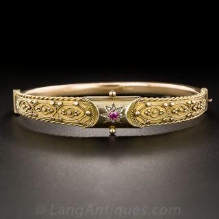 English Etruscan Revival Bangle Bracelet