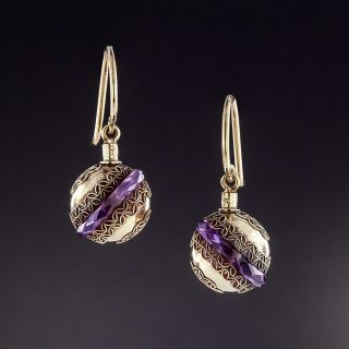 Etruscan Revival Amethyst Rondelle Dangle Earrings - 1