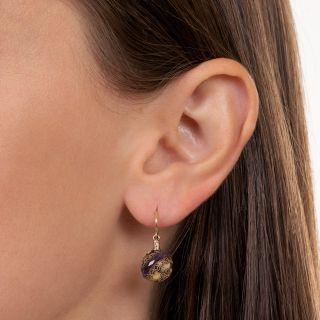 Etruscan Revival Amethyst Rondelle Dangle Earrings